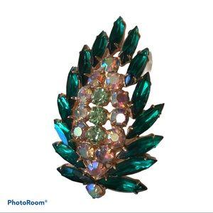 Vintage green crystal leaf statement brooch